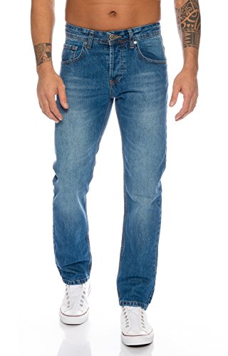 Lorenzo Loren Herren Jeans Hose Denim Jeans Used-Look Regular-Fit [LL327 - Hellblau - W44 L32]