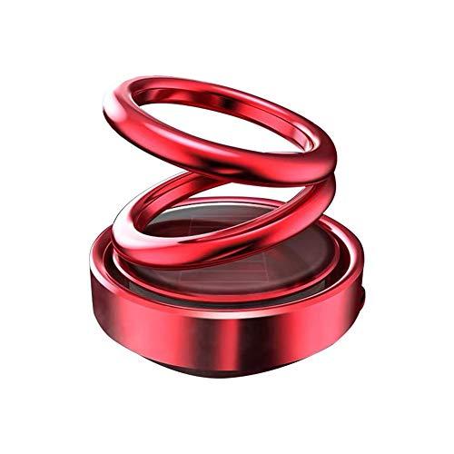 Heatigo Doppelring Auto Aromatherapie,Doppelring-Diffuser für ätherische Öle Solar cyclischen Dreh Suspension Aromatherapie Auto Luftreiniger geeignet für Büro,Reisen,Autodekoration--Rot -