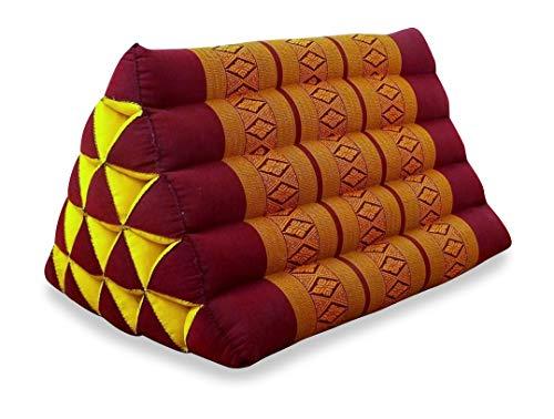 livasia Großes Dreieckskissen als Rückenstützkissen, Thaikissen BZW. Keilkissen, Nackenkissen für das Bett (rot/gelb) - Misc Bett