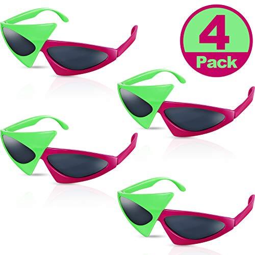 Frienda 4 Packungen 80 Jahre Asymmetrische Sonnenbrille Neuheit Party Sonnenbrille, Neongrüne und Rosa Kostüm Brille Spielzeug, Tanz Halloween Party, Lustige Brille Zubehör für Kinder und Erwachsene