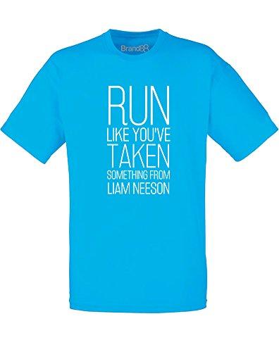 Brand88 - Taken Something From Liam Neeson, Mann Gedruckt T-Shirt Azurblau/Weiß