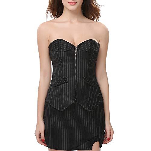 Scrolor Shapewear Korsetts Bustier Damen Trim Korsett hohe Taille gestreiftes schwarzes Design(Schwarz,4XL)