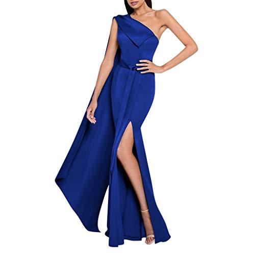 MAYOGO Festliche Kleider Abschlussball Kleider Damen Lang Blau One Shoulder Kleider Volant Bodycon Abendkleider Partykleid A Linien Kleid Partykleid mit Langärmliges (Pfirsich-rosa-abschlussball-kleid)