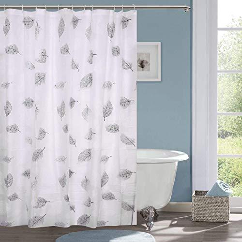 HISCIN PVC Leaf Bathroom Shower Curtain 7 feet with Hooks (Multicolour, 7ft/180x200cm)