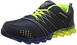 Steemo Men's Blue and Parrot Green Running Shoes - 10 UK/India (44 EU)(STM1022)