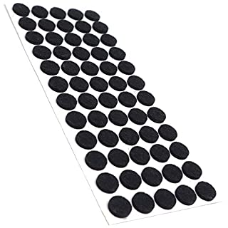 Adsamm® | 60 x self-Stick Felt Pads | Ø 0.55'' (Ø 14 mm) | Black | Round | self-Adhesive Furniture Glides with Felt Thickness of 0.138''/3.5 mm in top-Quality