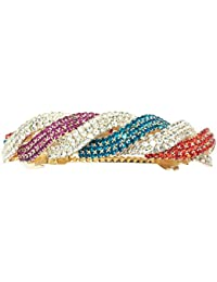Accessher Multi-colour Wavy Design Rhinestones Studded Back Hair Clip Hair Barrette Hair Accessories For Women