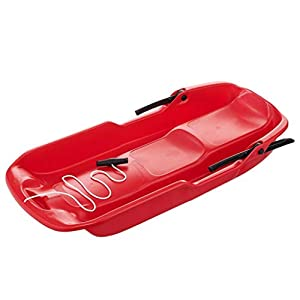POMELOGREEM Kunststoff-Schlitten, Sand-Board mit Brems Ropes Kunststoff Unisex Kinder Erwachsene Ski Fun Board Zweisitzer-Schlitten, Rot