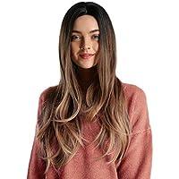 iHAZA - Peluca de fiesta sexy Moda peluca larga para mujer Peluca sintética rizada suave dorada