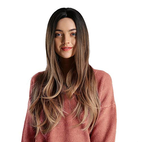 Beladla parrucca da donna bionda lunga ondulata filo ad alta temperatura resistente al calore circa 26 pollici cambiamento graduale bionda riccia parrucca di modo di stile