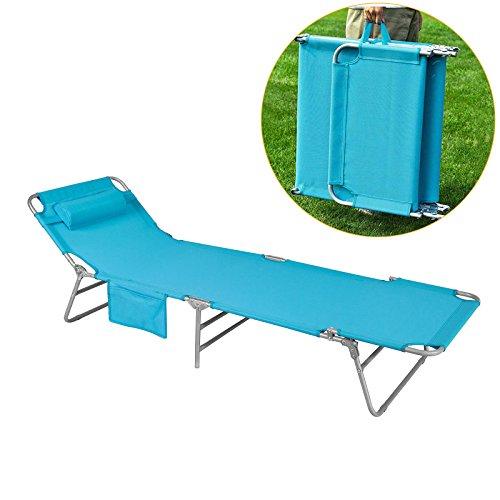 SoBuy® OGS35-B Chaise Longue Bain de soleil Transat de Jardin Pliant Chaise de Camping inclinable, pliable et réglable –Bleu