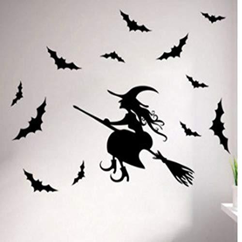 XCGZ Wandsticker Halloween Fledermäuse Fliegende Besen Hexe Wandaufkleber Verschönernde Glasfenster Aufkleber Aufkleber DIY entfernen (Halloween-dekoration Hexe Fliegende)