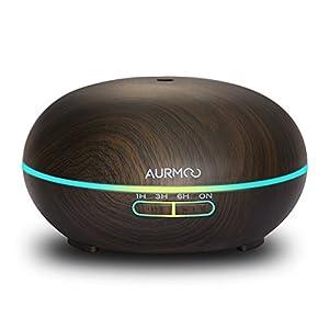 Aroma Diffuser Aromatherapie Luftbefeuchter 400ml, AURMOO Ultraschall Aroma Öle Diffusor Holzmaserung mit 14 Farben LED Lichter und Auto Abschaltung für Zuhause, Yoga, Büro, SPA, Schlafzimmer