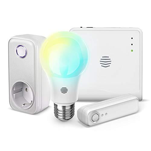 HIVE Starter Kit,  1 Smart Hub + 1 Lampadina LED  +  1 Presa intelligente + 1 Sensore di movimento. Funziona anche con Alexa e Google Home