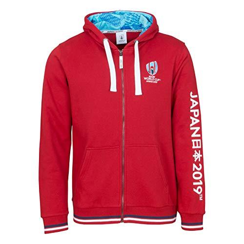 RWC 2019 Japan Mens Rugby Full Zip Hoodie [red] - X-Large Full Zip Rugby
