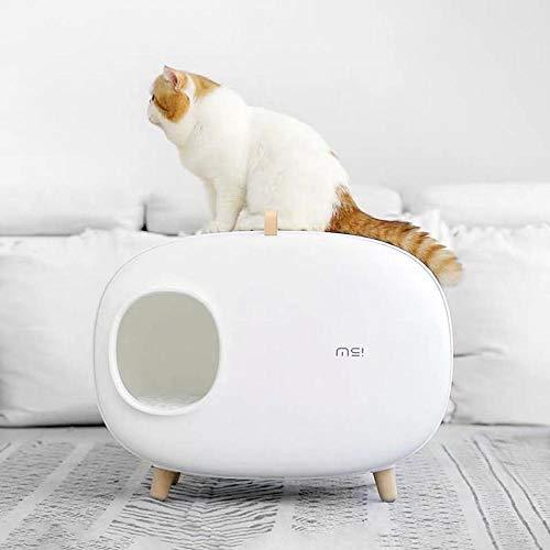 MAOSP Cassetta Igienica Toilette per Gatti-Lettiera per Animali Domestici Semi-Chiusa Bentonite Lettiera per Gatti Toilette Puzzolente Puzzolente Toilette per Gatti Ciliegia Polvere Bianco Puro
