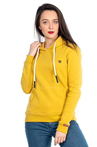 Damen Sweater Streetwear Pullover Pulli Sweat-Shirt Hoodie Kapuzenpulli Soft kuschelig 506 (Gelb, ()