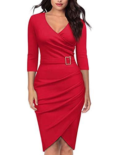 ORANDESIGNE Damen Vintage Langarm Elegant Kleid Business Party Cocktailkleid Knielanges Abendkleid Rot DE 40 Houndstooth Swing