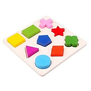 Ahatech Holz 9 Formen Bunte Puzzle Spielzeug Baby-pädagogisches Ziegelstein -Spielzeug