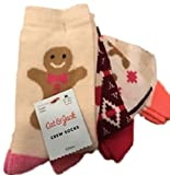 Girls 4 Pack Crew Holiday Socks M/L Gingerbread
