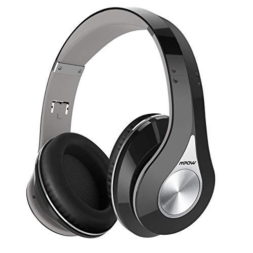 Mpow 059 Cuffie Bluetooth 4.1, Cuffie Riduzione di Rumore, Fascia Morbida Pieghevole Design Ergonomico, con Microfono, Durata 20 Ore per Huawei/iPhone/iPad/Samsung/Sony e Altri Cellullari e PC-Grigio