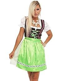 4211 Fashion4Young Damen Dirndl 3 tlg.Trachtenkleid Kleid Mini Bluse Schürze Trachten Oktoberfest