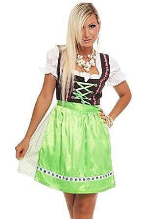 4211 Fashion4Young Damen Dirndl 3 tlg.Trachtenkleid Kleid Mini Bluse Schürze Trachten Oktoberfest (34, Grün-Braun)