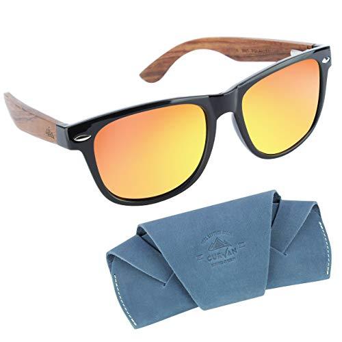CURVAN - Sonnenbrille aus Holz Polarisierte | Unisex Herren und Damen Brille mit Eco Holz-Bambus Bügeln | Inkl. Brillen-Etui aus 100% Echtes Leder | UV400 CAT 3 CE