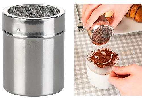 Rosenstein & Söhne Gewürzdosen: Kakao-Streuer aus Edelstahl mit Deko-Schablonen für Cappuccino & Co. (Gewürzstreuer Edelstahl)