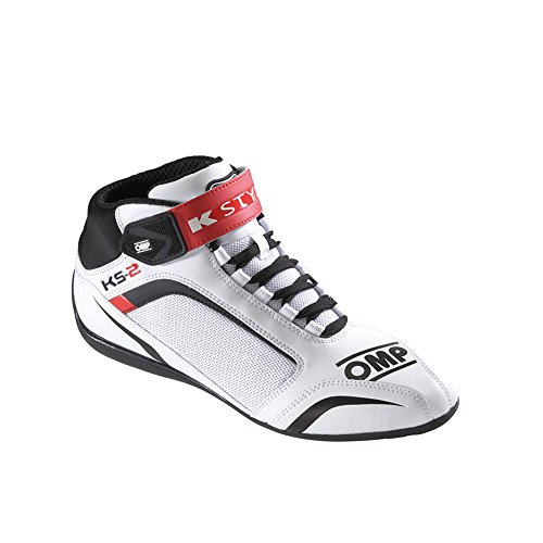 OMP OMPIC/81212045 Zapatillas, Blanco/Negro/Rojo, Talla 45