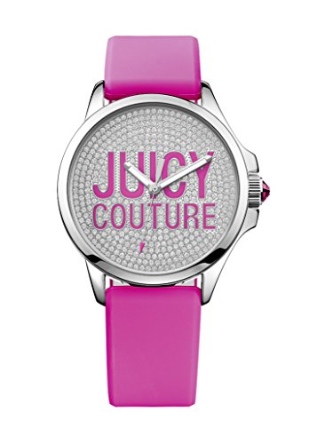 Juicy Couture Jetsetter Women's Quartz Watch with Silver Dial Analogue Display and Pink Plastic Strap 1901144