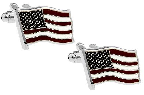 Herren Silber waving Bodega USA American Flag Manschettenknöpfe (Mens Flag Kostenlos)