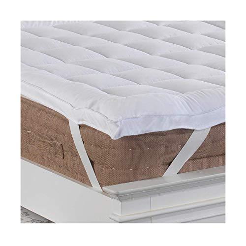 Lancashire Bedding - Cubierta para colchón de 5cm de profundidad, para cama de tamaño «King», funda de microfibra con textura lisa, costuras y cintas elásticas en las esquinas