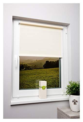 Rollo lichtdurchlässig in Vielen Farben und Größen Klemmfix Ohne Bohren Fensterrollo für Kleine und große Fenster und Türen Sichtschutzrollo Seitenzugrollo Klemmrollo Beige Sand 80x210 cm