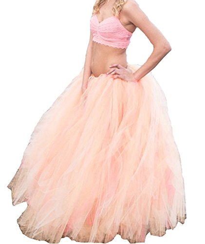 e-3lue ® donne Handmade Maxi gonna tutù a tutta lunghezza party gonne 100 cm Pink-01