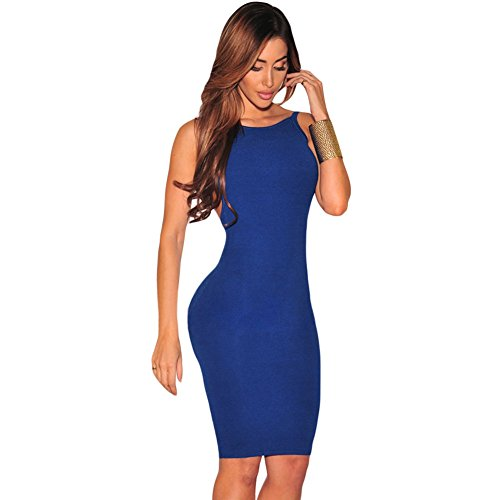 meinice bassa schiena aperta senza maniche Midi Dress Blue Medium