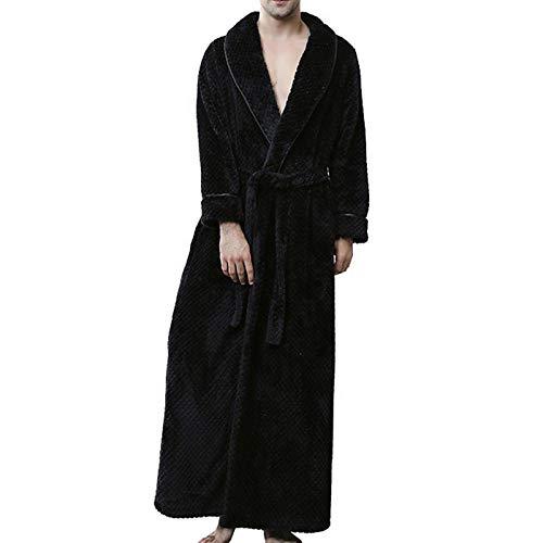 ZIXIYAWEI Bademantel Herren Herbst Winter Robe Soft Lightweight Langarm Deep V-Neck Long Kimono Flanell Spa Bademantel Für Herren-Black_L