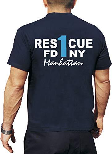 feuer1 'T-Shirt Rescue Pompiers 1 - Manhattan - New York M Bleu - Bleu