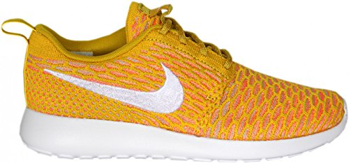 Nike - Roshe Flyknit, Scarpe da corsa Donna Gold White Laser Orange Sunset glow