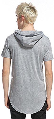 Whatlees Herren Urban Basic reguläre Passform lang arm Langes T-shirt mit Kapuzer und seitlichen Reißverschlüssen B498-Grey