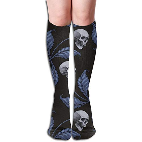 Stocking DENIM CHERRY SKULL Very Large Scale Collection Cherry Skull Rock 'n' Roll Old School Tattoo Multi Colorful Patterned Knee High Socks 19.6Inchs ()