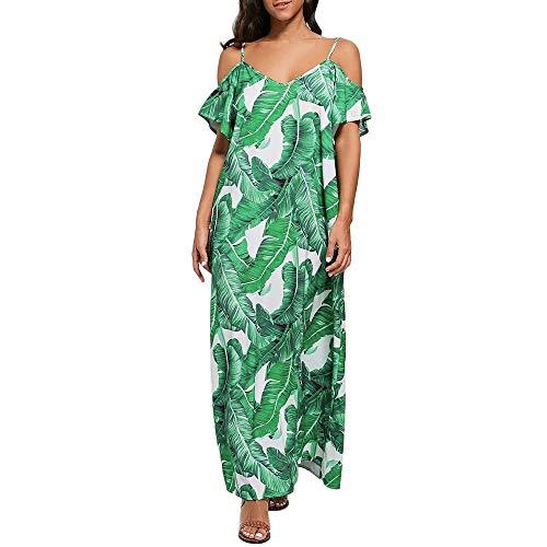 Schulterfreies Kleid,VRTYOC Kleid mit Blattmuster Freizeit locker Zurück öffnen Sommerkleid Und Rock Strandrock Locker und bequem Beliebt -