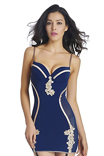 Kimring Women's Graceful Raised Pattern Stretch Skinny Lingerie Chemise Dress with Garters Blue Small (Dress Underwire Garter)