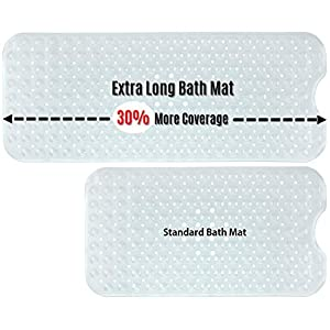 SlipX Solutions Clear Extra Long Bath Mat Adds Non-Slip Traction to Tubs & Showers - 30% Longer Than Standard Mats! (200 Suction Cups, 99 cm Long Bathtub Mat)