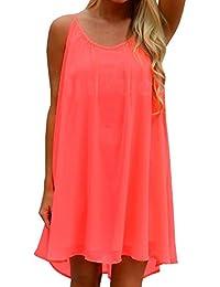 SUNNOW 5 Colores Nuevo Vestido de Verano de Las Mujeres Vestido de Playa sin  Mangas sin 28957d0adc5b