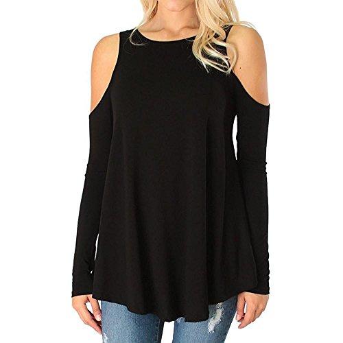 Langarm Plus Größe Sexy T-Shirt Bluse Kleidung (Schwarz, 4XL) (Weihnachts-kleidung Für Frauen)