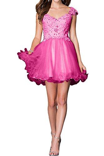 TOSKANA BRAUT Festlich Neu Spitze Kurz Rosa Cocktailkleider Traeger Abiballkleider Partykleid Pink
