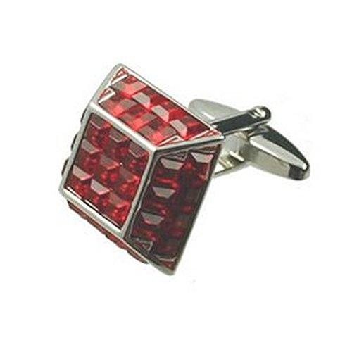 Collegamenti del bracciale Bold gemelli~Piramide di Cristallo Rosso Bling gemelli + Custodia nera