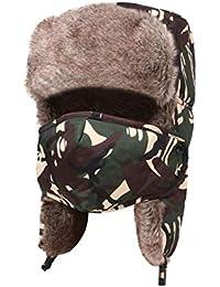 CJC Sombrero Máscara Unisexo Trampero Soldado Piloto Gorra A Prueba De  Viento Desmontable Excursionismo Esquiar Al cea1cae85efe