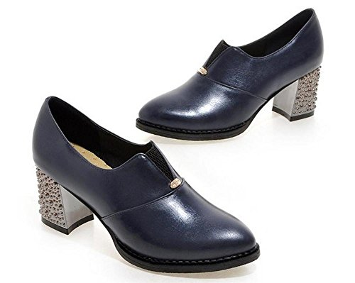spesso con poco profonda della bocca scarpe col tacco delle donne Scarpette metallo blue